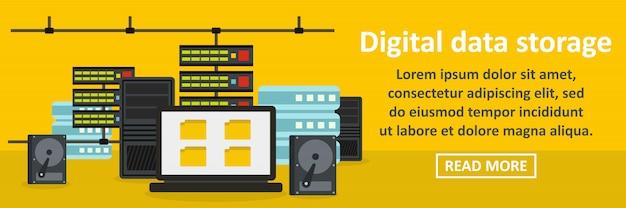 Concept horizontal de bannière de stockage de données numériques