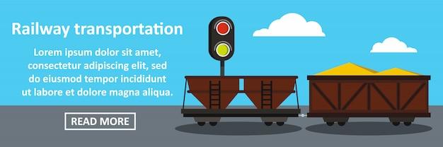 Concept horizontal de bannière de transport ferroviaire