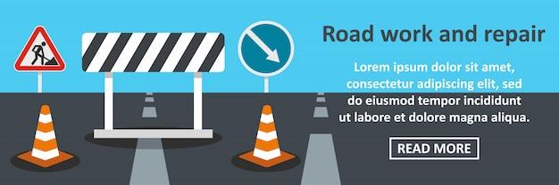 Concept horizontal de bannière de travaux routiers et de réparation