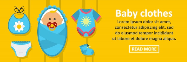 Concept horizontal de bannière de vêtements bébé