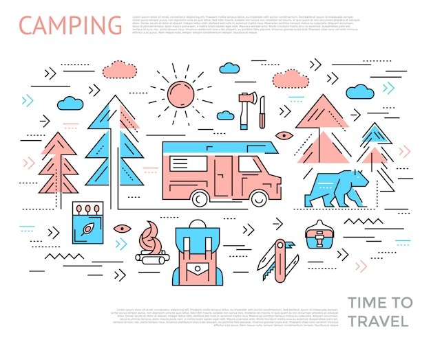 Concept horizontal de camping