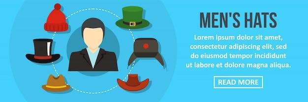 Concept horizontal de chapeaux d'hommes bannière modèle horizontal