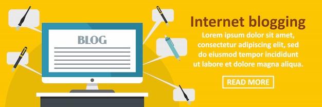 Concept horizontal de modèle de bannière de blogging internet