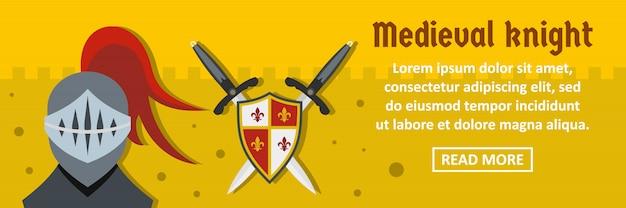 Concept horizontal de modèle bannière chevalier médiéval