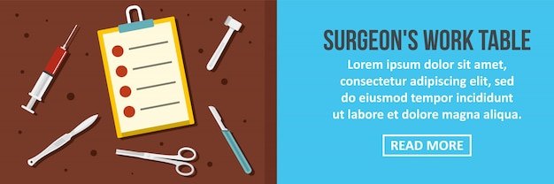 Concept horizontal de modèle de bannière chirurgien table de travail