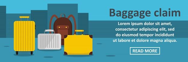 Concept horizontal de modèle de bannière de réclamation de bagages
