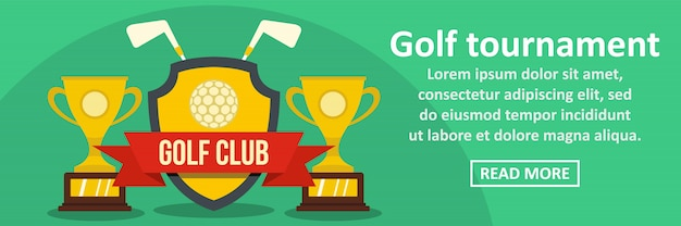 Concept horizontal de modèle de bannière de tournoi de golf