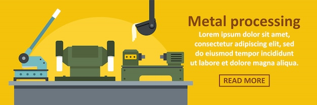 Concept horizontal de modèle de bannière usine de traitement des métaux