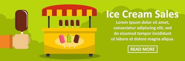 Concept horizontal de modèle de bannière de vente de crème glacée