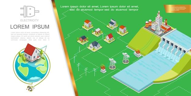 Concept hydroélectrique isométrique avec tours de transmission de la centrale hydroélectrique transformateurs électriques maisons illustration de prise électrique planète terre