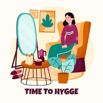 Concept de hygge dessiné à la main