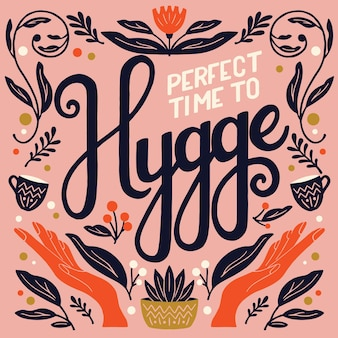 Concept hygge. illustration et lettrage à la main colorée