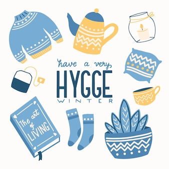 Concept hygge avec lettrage à la main coloré et illustration