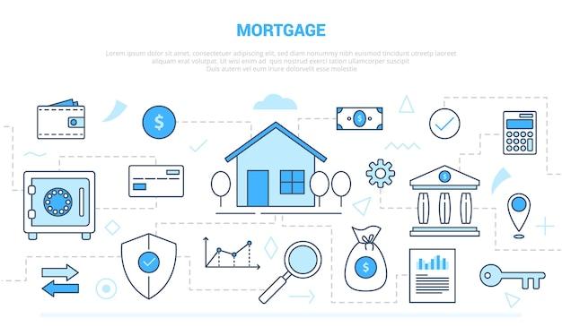 Concept d'hypothèque avec collection de jeux d'illustration comme la maison et l'argent des finances