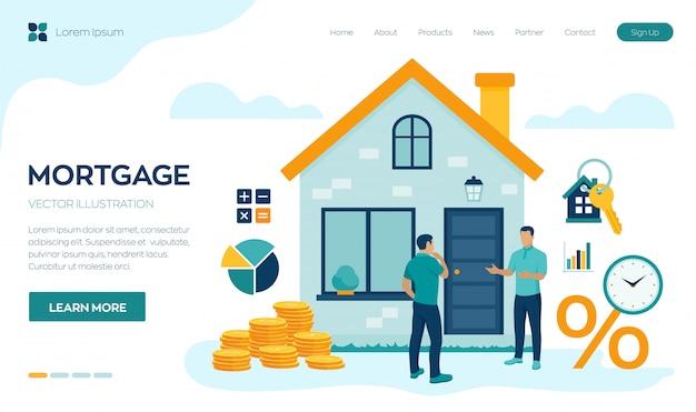 Concept d'hypothèque. prêt immobilier ou investissement en argent sur la page de destination immobilière