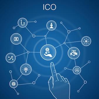 Concept ico, fond bleu.crypto-monnaie, démarrage, économie numérique, icônes de la technologie