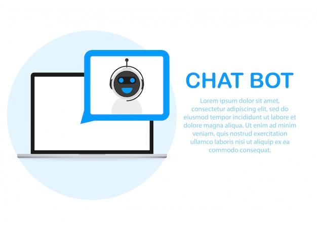 Concept d'icône de chatbot, chat bot ou chatterbot.