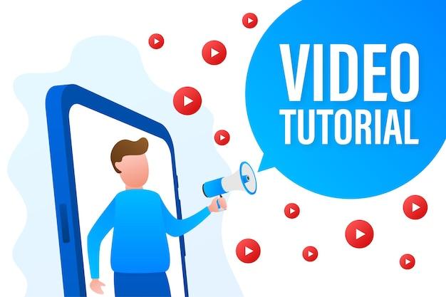Concept d'icône de didacticiels vidéo. contexte d'étude et d'apprentissage, enseignement à distance et croissance des connaissances. vidéoconférence et webinaire