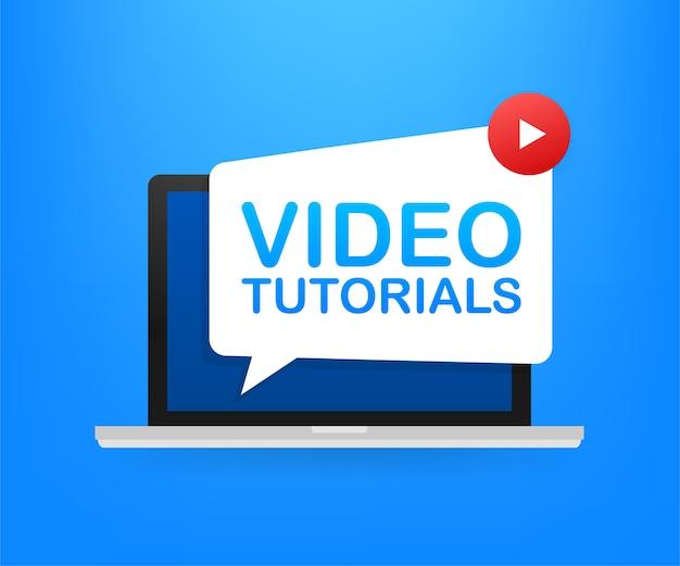 Concept d'icône de didacticiels vidéo