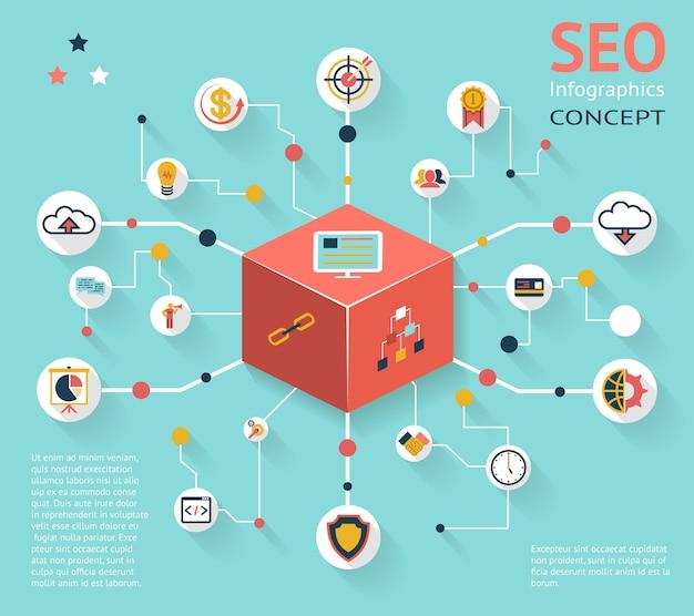 Concept d'icône infographique seo coloré avec divers résultats d'option