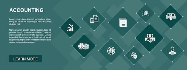 Concept d'icônes de bannière comptable 10. actif, rapport annuel, revenu net, icônes simples de comptable