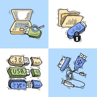 Concept d'icônes de conception usb