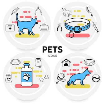 Concept d'icônes de ligne pour animaux de compagnie avec colliers d'alimentation pour chat et chien transporteurs laisse kit médical seringue peigne