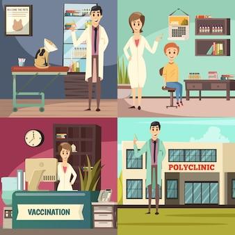 Concept d'icônes orthogonales de vaccination obligatoire