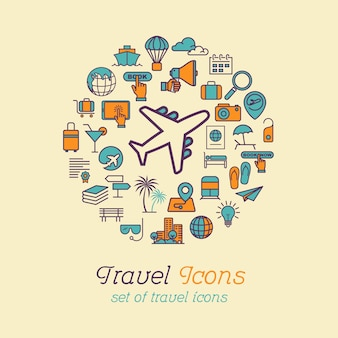 Concept d'icônes de voyage ligne ronde pour voyager et tourisme