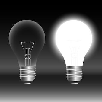 Concept d'idée d'ampoule sur fond noir. illustration vectorielle