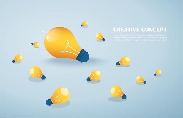 Concept d'idée créative, ampoules