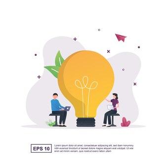 Concept d & # 39; idée créative avec une grosse ampoule
