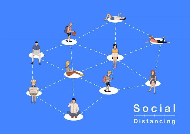 Concept d'idées de personnes à distance sociale, prévenir la maladie à coronavirus covid-19