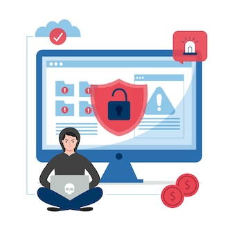 Concept d'illustration activité hacker design plat