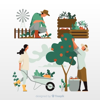 Concept d'illustration agricultures travaillant