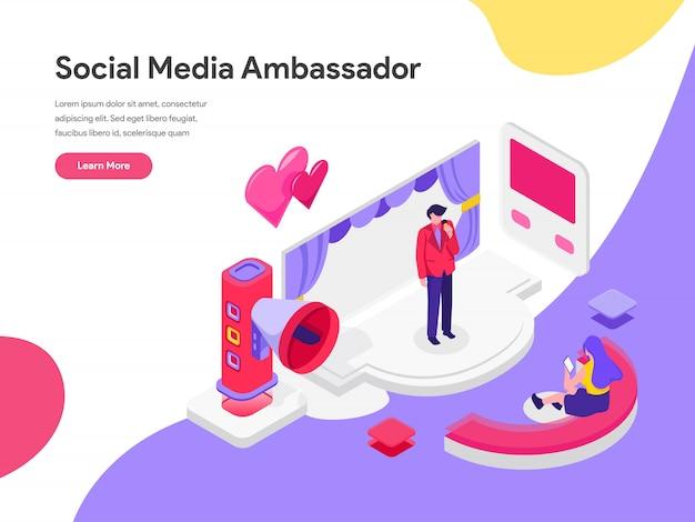 Concept d'illustration d'ambassadeur des médias sociaux