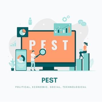 Concept d'illustration d'analyse pest illustration pour les applications mobiles de pages de destination de sites web