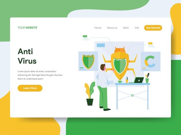 Concept d'illustration anti-virus. page de destination