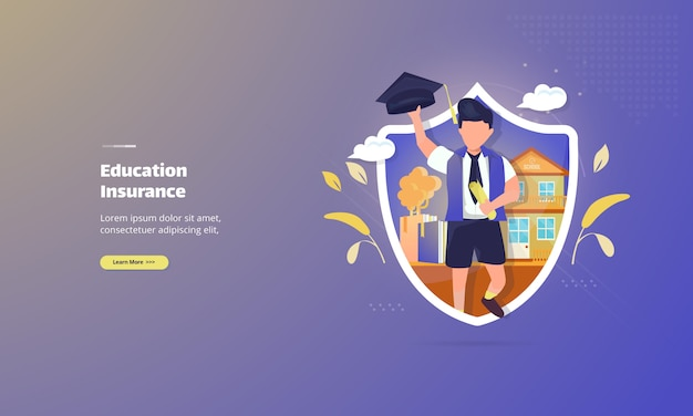 Concept d'illustration d'assurance-éducation