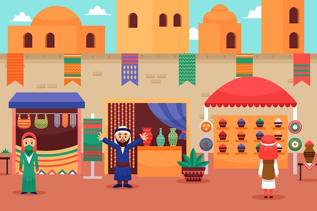 Concept d'illustration de bazar arabe