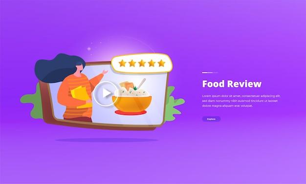 Concept d'illustration de blogueur de revue de nourriture