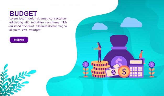 Concept d'illustration budgétaire avec personnage. modèle de page de destination