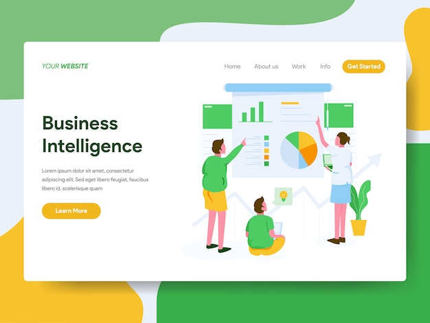Concept d'illustration de business intelligence. page de destination