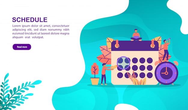 Concept d'illustration de calendrier avec personnage. modèle de page de destination