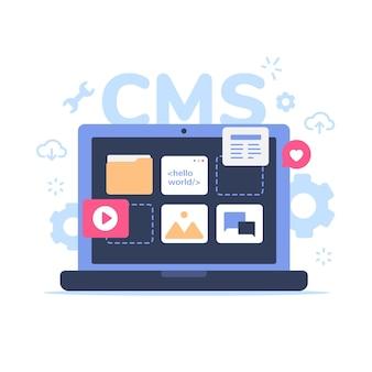 Concept d'illustration cms avec ordinateur portable