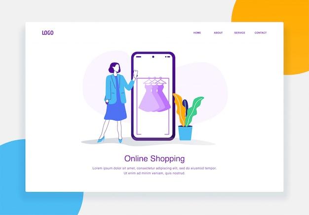Concept d'illustration de commerce électronique moderne de femme debout, choisissant la robe du catalogue de magasinage en ligne pour le modèle de page de destination