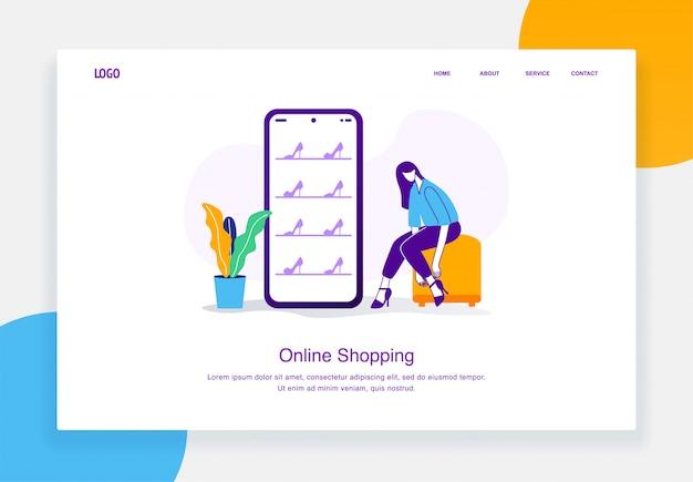Concept d'illustration de commerce électronique moderne de femme est assise tout en essayant les talons achats en ligne pour le modèle de page de destination