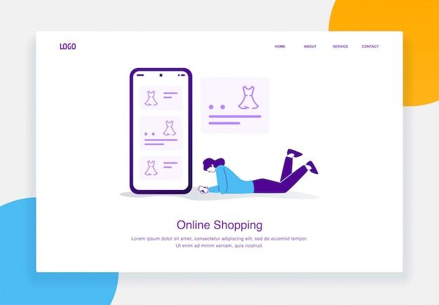Concept d'illustration de commerce électronique moderne de femme fixant tout en choisissant la robe du catalogue achats en ligne pour le modèle de page de destination
