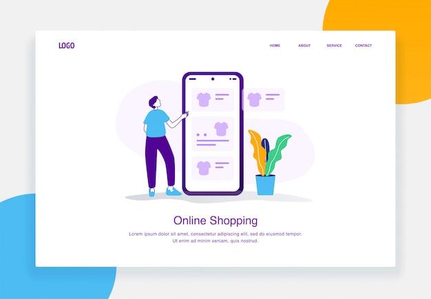 Concept d'illustration de commerce électronique moderne des hommes choisissent des t-shirts dans un catalogue en ligne mobile pour le modèle de page de destination