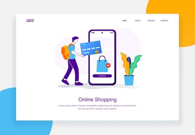 Concept d'illustration de commerce électronique moderne d'hommes effectuant des paiements en ligne avec des cartes de crédit pour le modèle de page de destination
